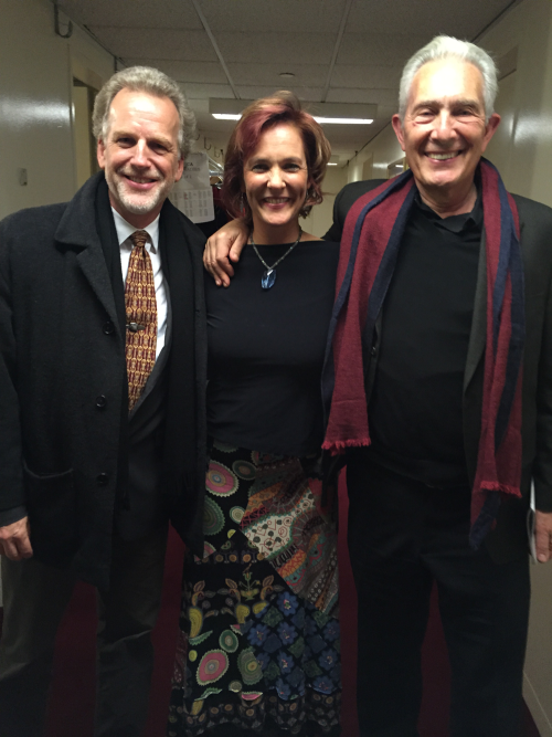 Peter LLoyd, Marlis Petersen, and Arnold Steinhardt back stage